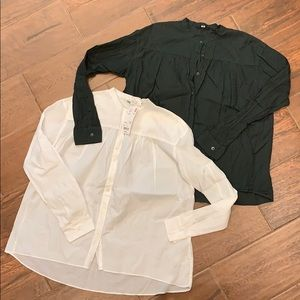 Lot of 2 light weight button down shirts.